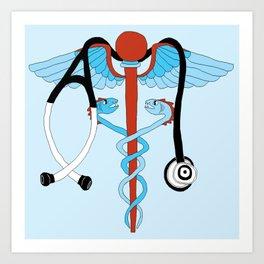 medical caduceus and stethoscope Art Print
