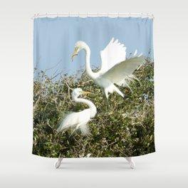 Bird Series: Nesting Great Egrets Shower Curtain