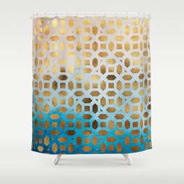 Exotic Gold Moroccan Geometric Pattern on Blue Background Shower Curtain