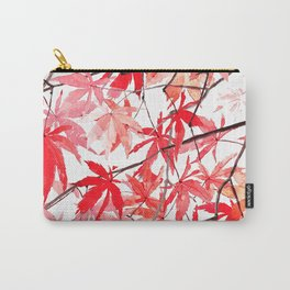 red orange maple leaves watercolor painting 2 Carry-All Pouch