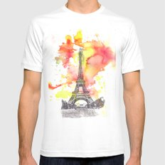 Eiffel Tower in Paris France White MEDIUM Mens Fitted Tee