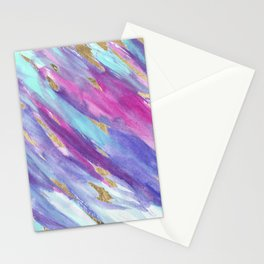 Artsy pink teal purple gold watercolor brush strokes Stationery Cards