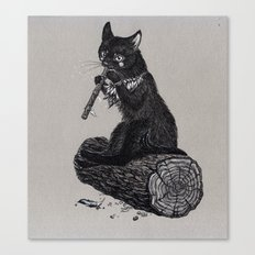 Folk musician cat Canvas Print