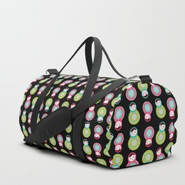 dolls matryoshka on black background, pink and blue colors Duffle Bag