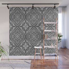 BOHEMIAN PALACE, ORNATE DAMASK: GRAY on GRAY Wall Mural