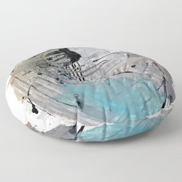 Riptide: an abstract mixed media piece in black, white, brown and blue Floor Pillow