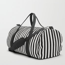 Skinny Stroke Vertical Black on Off White Duffle Bag