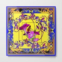 Decorative Blue Yellow Pink Purple Vining Flowers Art Metal Print
