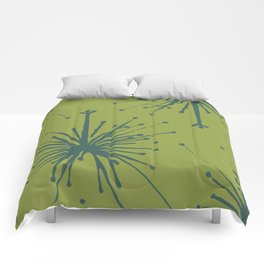 Chartreuse and Teal Floral Comforters