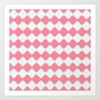 Art Print featuring Coral and White Quatrefoils by Sara Chapin