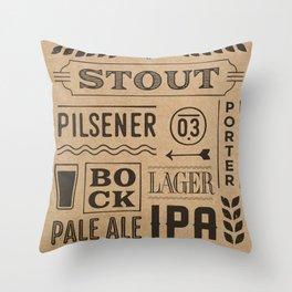 Type beer Throw Pillow