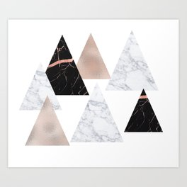 Marble rose gold geometric triangles Art Print