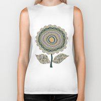 mineral Biker Tanks featuring Fabby Flower-Mineral colors by Groovity
