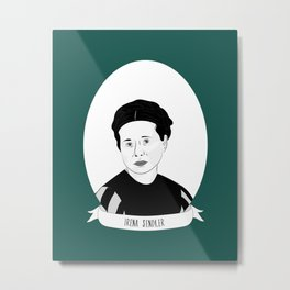Irena Sendler Illustrated Portrait Metal Print
