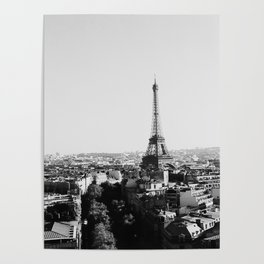 Paris City Sky // Eiffel Tower City Landscape Photography Shot from the top of Champs Elysees France Poster