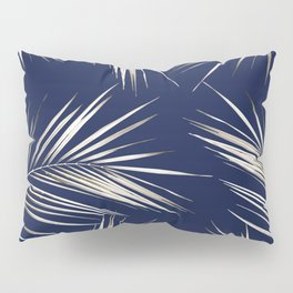 White Gold Palm Leaves on Navy Blue Pillow Sham
