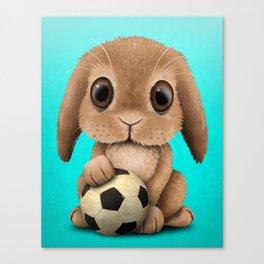 Cute Baby Bunny With Football Soccer Ball Canvas Print