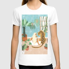 Urban Jungle Illustration, Tiger Home Decor, Woman & Modern Bohemian Wildlife Painting T-shirt