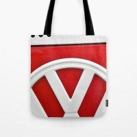 volkswagon Tote Bags featuring VW by Jamie Klock