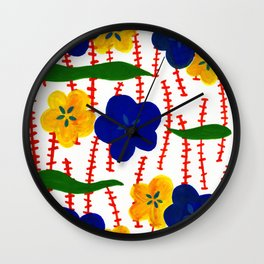 Blue and Yellow Floral Patterns Wall Clock