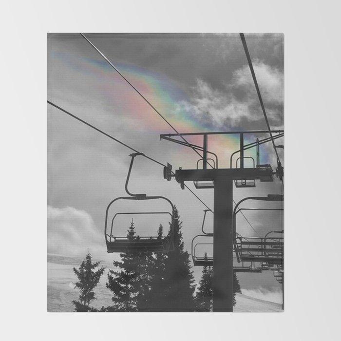 4 Seat Chair Lift Rainbow Sky B&W Throw Blanket