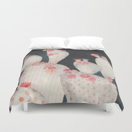 Cacti and flowers in the Night Duvet Cover