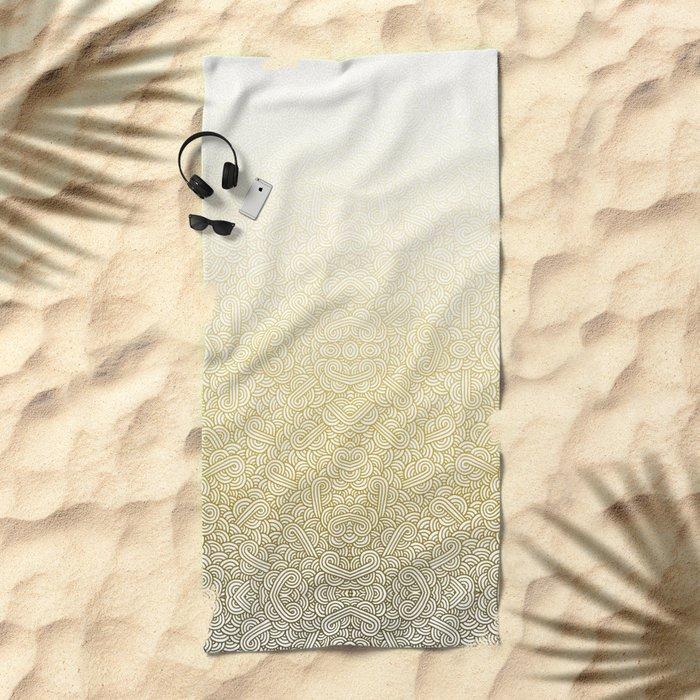Gradient yellow and white swirls doodles Beach Towel