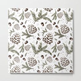 Pine cone acorn pattern white  Metal Print