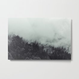 Stunning Foggy Forest Mountain Landscape - French Alps (Black & White) Metal Print