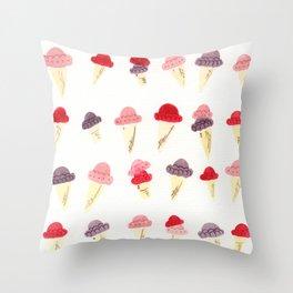 Pink, Purple, and Magenta Ice Cream Cones Throw Pillow