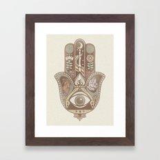 Hamsa Hand Faded Colour Framed Art Print
