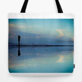 Man on Shore Reflection Tote Bag