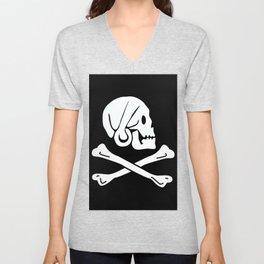 Henry Every Pirate Flag - Jolly Roger Skull Unisex V-Neck