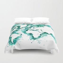 Watercolor splatters world map in teal Duvet Cover