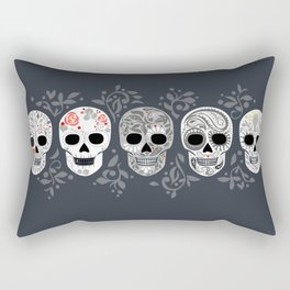 Celebracion de Gris_Calaveras Sugar Skulls line_RobinPickens Rectangular Pillow