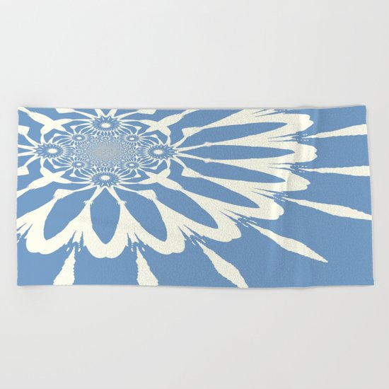 Subtle Blue Flower Beach Towel