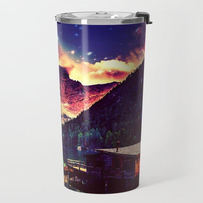 Night Sky at the lake Travel Mug