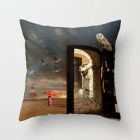 return Throw Pillows featuring  No Return by Barbara Aitchison's ArtAllure