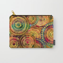 Colorful Circular Tribal  pattern with gold Carry-All Pouch