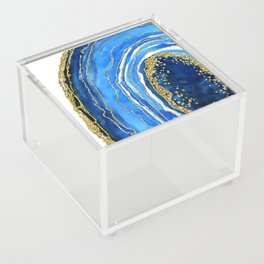 Cobalt blue and gold geode in watercolor (2) Acrylic Box