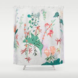 Abstract Jungle Floral on Pink and White Shower Curtain