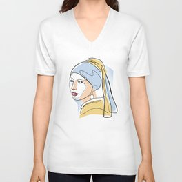Girl with a Pearl Earring - One Line Drawing Unisex V-Neck