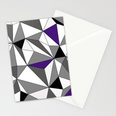Geo - gray, black, purple and white Stationery Cards