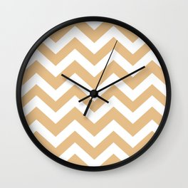 Gold (Crayola) - pink color - Zigzag Chevron Pattern Wall Clock
