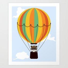 Retro hot air balloon with a raccoon Art Print