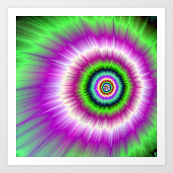 Color Explosion in Pink and Green Art Print