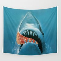 jaws Wall Tapestries featuring Pizza Jaws by Urban Exclaim Co.