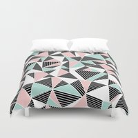 AbLines with Blush Mint Blocks Duvet Cover
