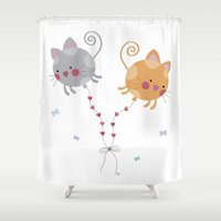 globe Shower Curtains featuring Cats Globe by Esther Ilustra