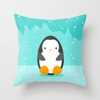 penguin Throw Pillows featuring Penguin by eDrawings38
